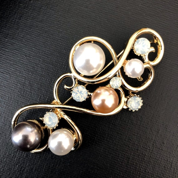 Large Safety Pearl Brooch Pin, Vintage Jewelry, Vi