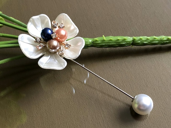 Large Safety Pin, Pearl Brooch Pin, Vintage Jewelr