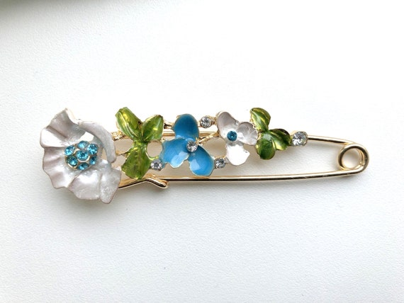 Large Safety Pin, Enamel Brooch Pin, Vintage Jewel