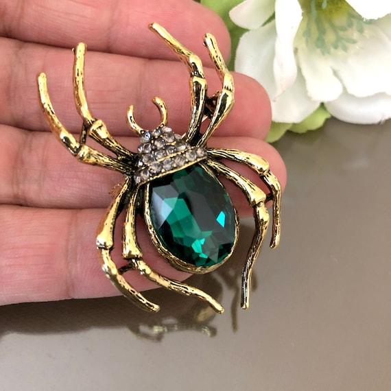 Large Green Spider Brooch, Spider Brooch or PENDAN
