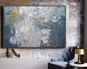 6747483d27fe Silver Painting / Blue Abstract Painting / Large Original Abstract Oil  Painting / Extra Large Wall Art / Oversize Oil Painting / Modern Art