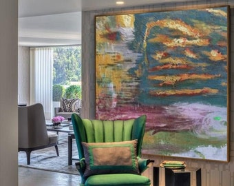 Landscape Painting / Large Original Abstract Oil Painting / Colorful Acrylic Canvas Art / Oversize Oil Painting / Extra Large Wall Art