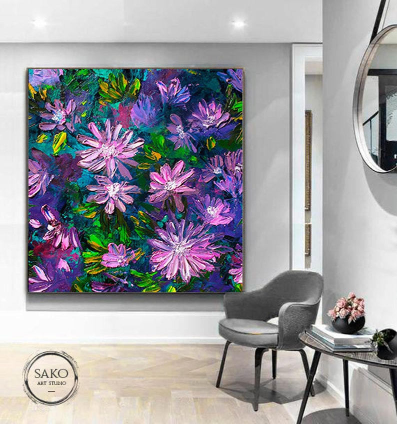 Purple Flowers Oil Painting  Extra Large wall art  Abstract Painting  Contemporary Art  Nature Painting  Large Original Canvas Art