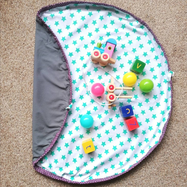 Turquoise stars and Grey PlayBag