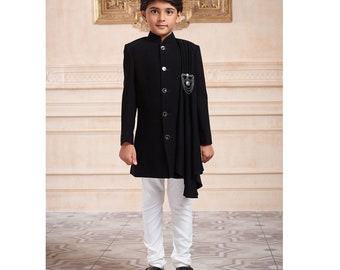 57539f61b3 Solid Black Terry Rayon indowestern For Boys / kids / Kurta pyajama /  indian kurta / indian shervani / long kurta / pakistani