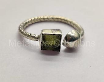Genuine Raw Moldavite Ring * Artisan Ring * 925 Sterling Silver * Handmade* Boho Ring * Adjustable Ring * Green Stone Ring * Healing Crystal