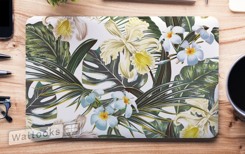 Computer Decal Sticker Full Coverage Laptop Skin Macbook Skin Floral Tropical Flowers Nature Artsy Laptop Skin