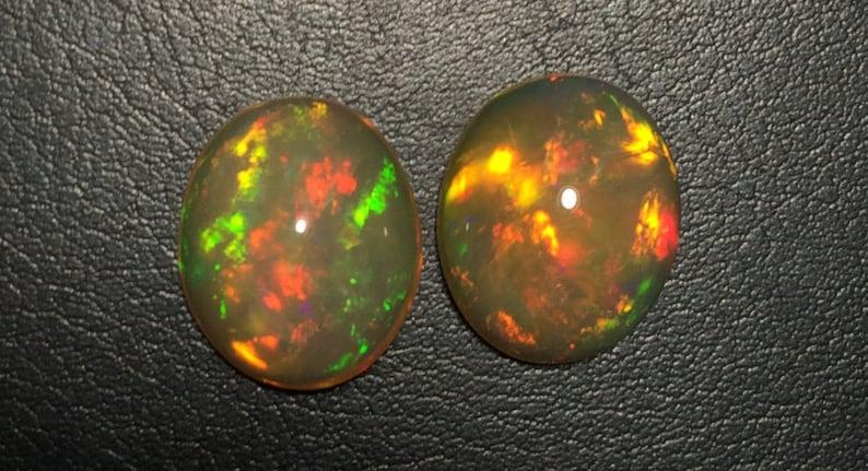 10x12 MM Size Natural Ethiopian Opal Oval Cabochon Welo Multy Flashy Fire Opal.