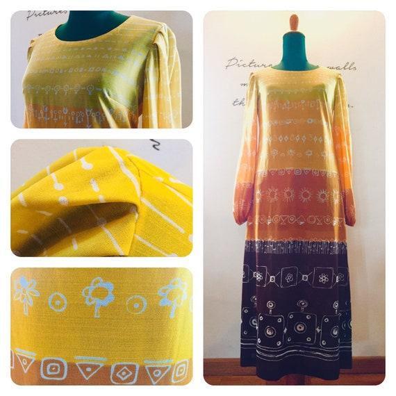 1969 Hippie style Dress, Jersey Viscose, Vintage 6