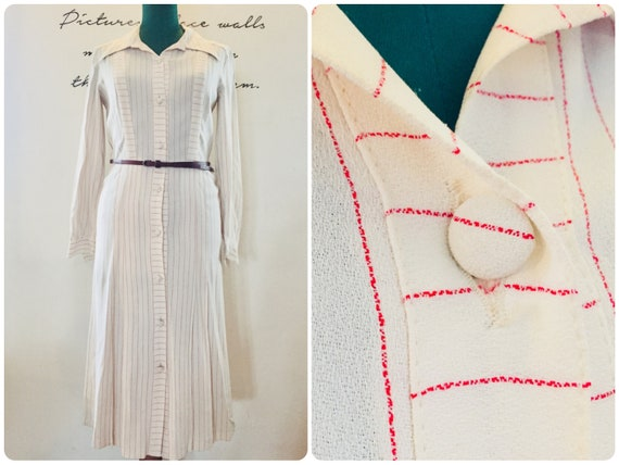 Late 1970s Silk Dress, Pleated Shirt Dress, Vintag