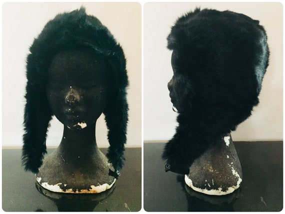1960s Black Lapin Fur Hat, Hood Fur Hat, One Size