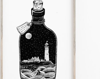 Whitley Bay Print, St. Mary's Lighthouse, Illustration, Geordie Gift, Coast Print, Nautical Print, Seaside Art, Night Sky, Seascape Drawing