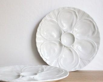 Set of 2 vintage Pillivuyt white porcelain oyster and seafood serving plates