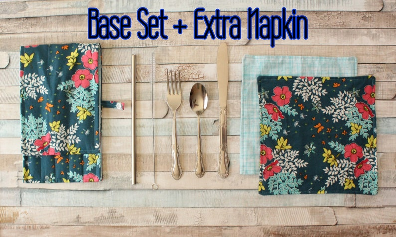 Stainless Steel and Cotton Floral Brick Portable Cutlery Set