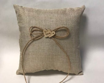 Burlap and Lace with Large flower Burlap Ring Bearer pillow Wedding Ring Pillow