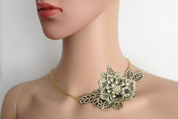 Gold Lurex Floral Lace Chokers, Handmade Jewelry - ZARA - Floral Gold Lurex Lace Necklace, Gifts For Her , Unique Jewelry