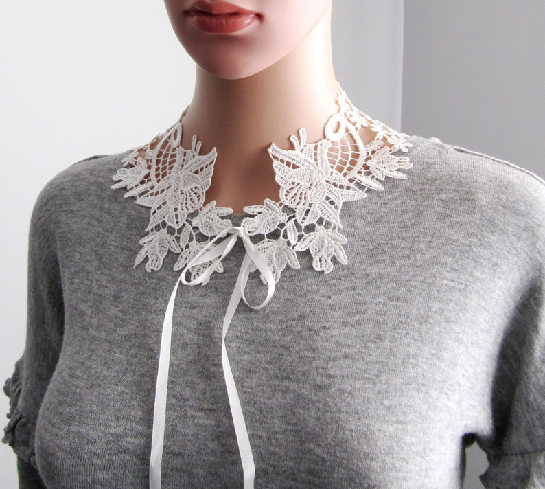 Handmade Lace Jewelry Boho Wedding Detachable Collars White Off Elegant Bridal Shower Floral Lace Necklace