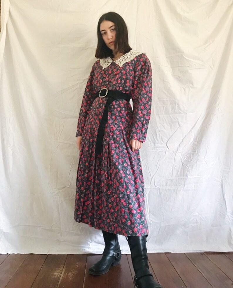 9fa37ea467c Vintage Laura Ashley Floral Drop Waist Midi Dress with Lace | Etsy