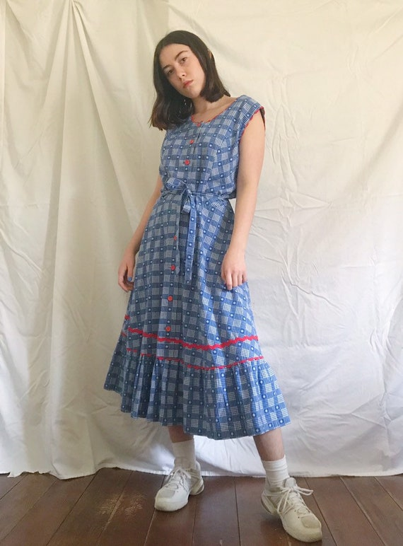 02099edee30 Vintage Plaid Ruffle Prairie Dress sz L | Etsy
