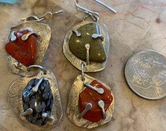 Prong set stone earrings