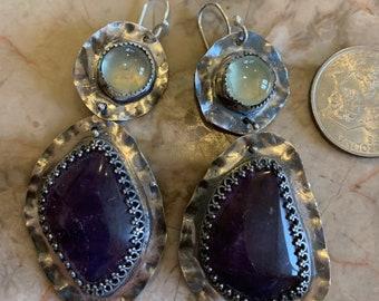 Prehenite and ametrine silver earrings
