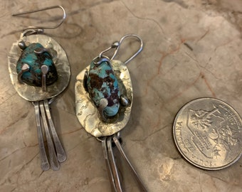 Raw turquoise earrings
