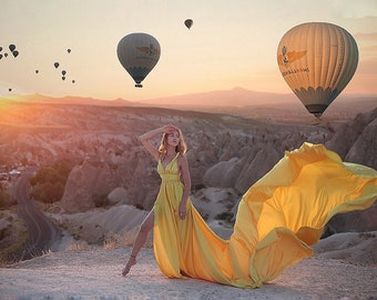 Diana dress // Infinity flying dress with maxi long flowy train, The length of train is 15 ft (4.5 meters), Satin dress for photo shoot