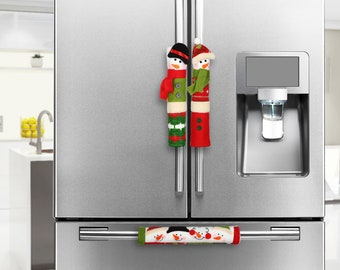 Snowman Christmas Decorations - Set of 3 Kitchen Handle Covers - Best Xmas Idea for Gift and Decor