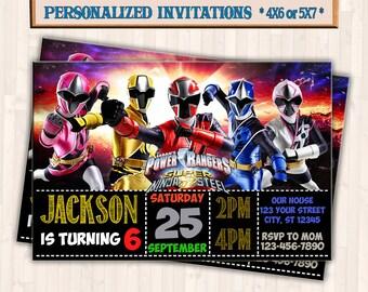Power Ranger Invitation Etsy
