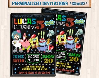 Spongebob Invitation Birthday Card Invite Personalized Invitations