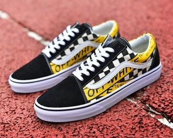 e0ffed53a6b5 Off-White Vans Shoes Men Custom Old Skool Sk8 Hi Logo Black White Yellow  Streetwear Trainers Hypebeast Clothing Sneakers Official Skate