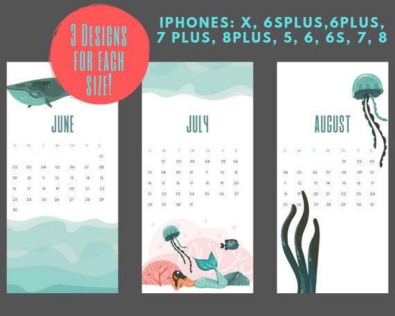 Iphone Wallpaper Lockscreen Smartphone Background Iphone Background Digital Wallpaper Summer Ocean Calendar