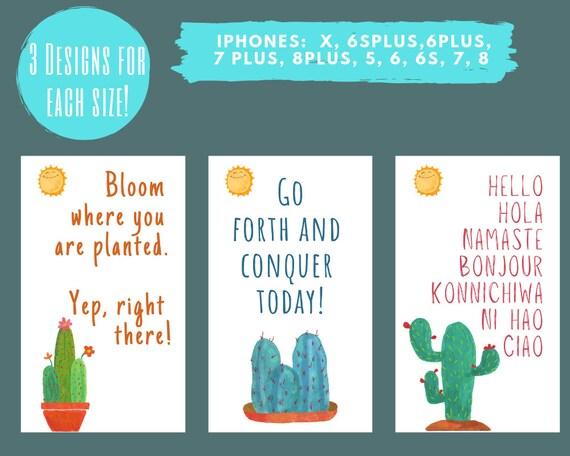 Iphone Wallpaper Lockscreen Smartphone Background Iphone Background Digital Wallpaper Summer Cactus Quotes
