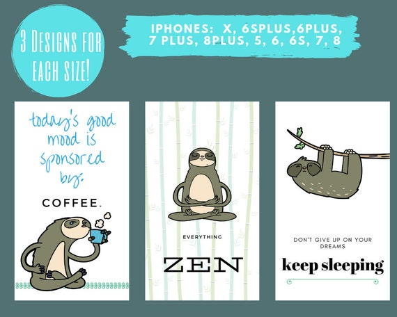 Iphone Wallpaper Lockscreen Smartphone Background Iphone Background Digital Wallpaper Sloth Coffee Sleep