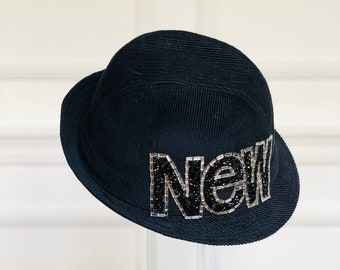 96584d64 Zara Black Corduroy Fedora Hat with Handcrafted bead embroidery.
