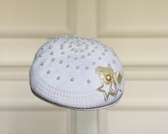 f99d498dd63e0 Vintage 90s White Kangol Toropic Ventair beret with pearl embroidered-Mother s  day gift.