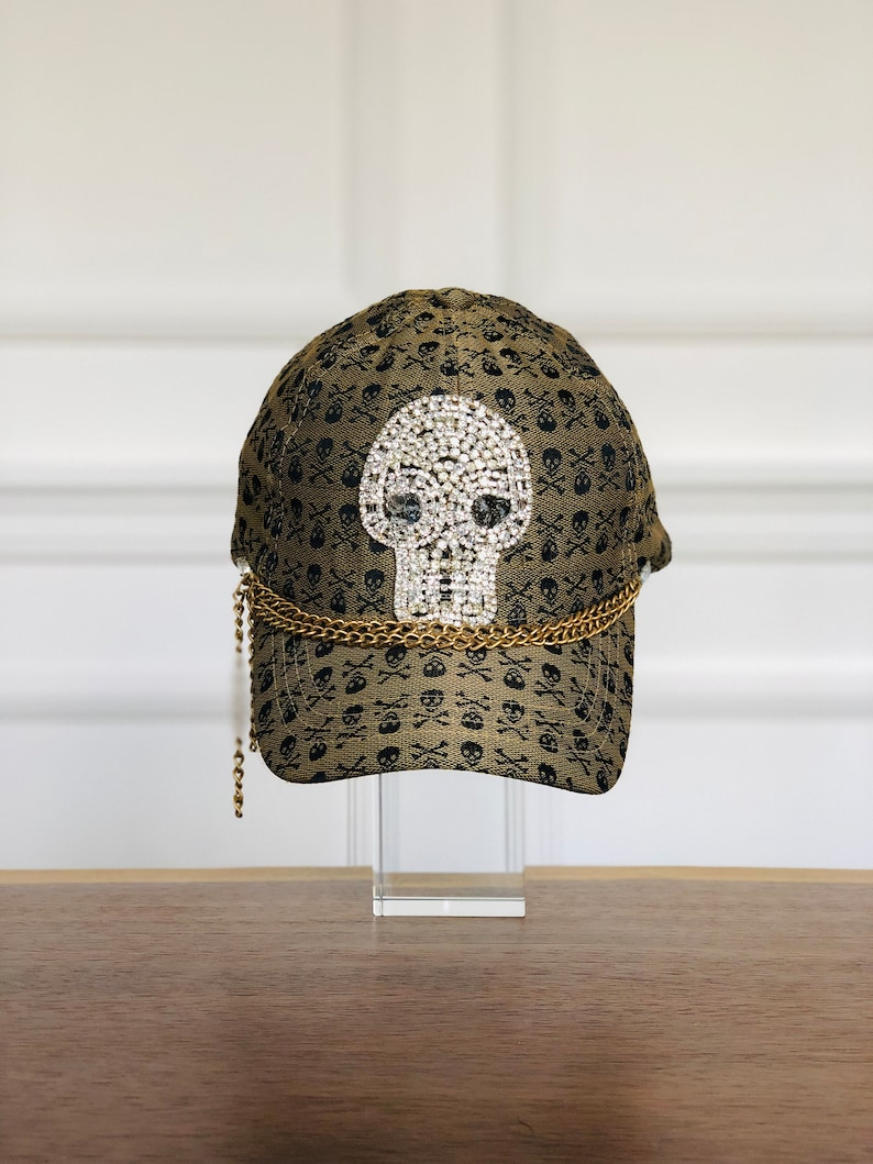 263bf7088 Brown Baseball cap with Skull Print and Skull Rhinestone embroidery.  Mother's Day Gift