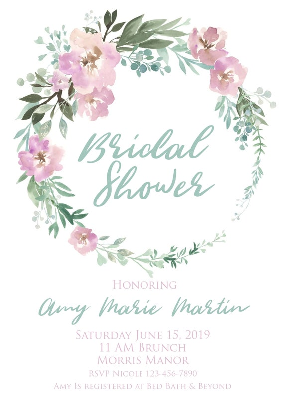 photograph regarding Bridal Shower Printable Invitations identified as Printable Bridal Shower Invitation, Mauve, Teal, Red, Words and phrases Editable, Floral Wreath, Bouquet, Watercolor, Body, Do-it-yourself, Template, Electronic