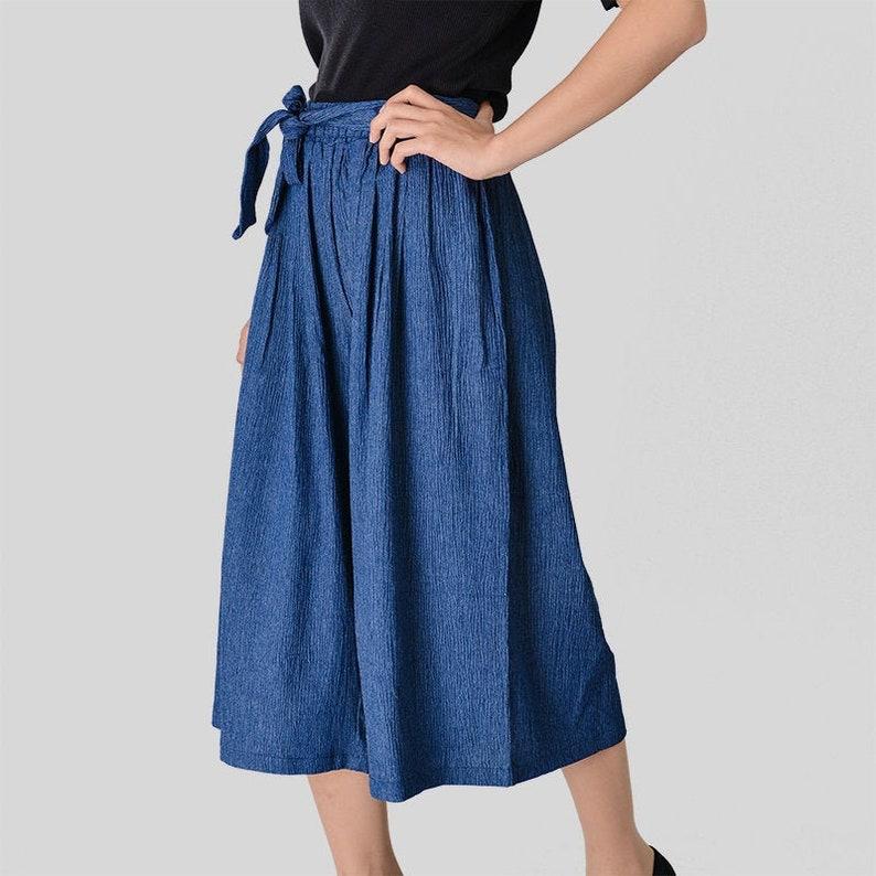 Womens Palazzo Pants Denim Blue Capri Pleated High Waist Wide leg Belted
