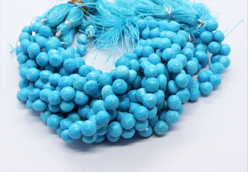 Turquoise Onion Faceted Beads,7-8 MM Indian Turquoise Gemstone Beads 8 Inch Faceted Turquoise Onion Beads Strand