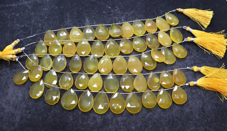 8 Inch Faceted  Calcy Pear Beads 15x22 MM Calcy Dony Briolettes AAA Natural Yellow  Calcedony beads Faceted Pear Shape Beads