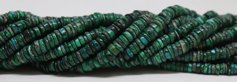 17 Inch Malachite Heishi Washer 6-7 MM 5 Strand AAA Natural 17 Inch Malachite Heishi Washer Beads Necklace