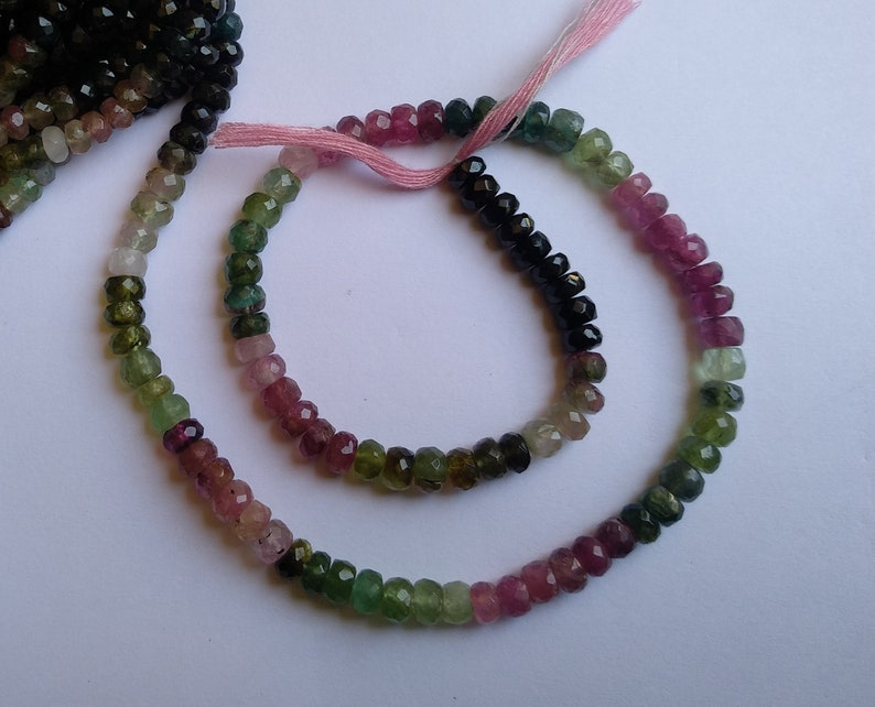 4.5-5 MM Tourmaline Beads AAA Natural 13 Inch Multi Tourmaline Faceted Rondelle Beads