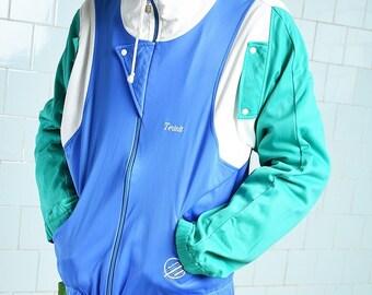 Vintage Adidas Oldschool 1980s Dark Blue Tracksuit top Warm