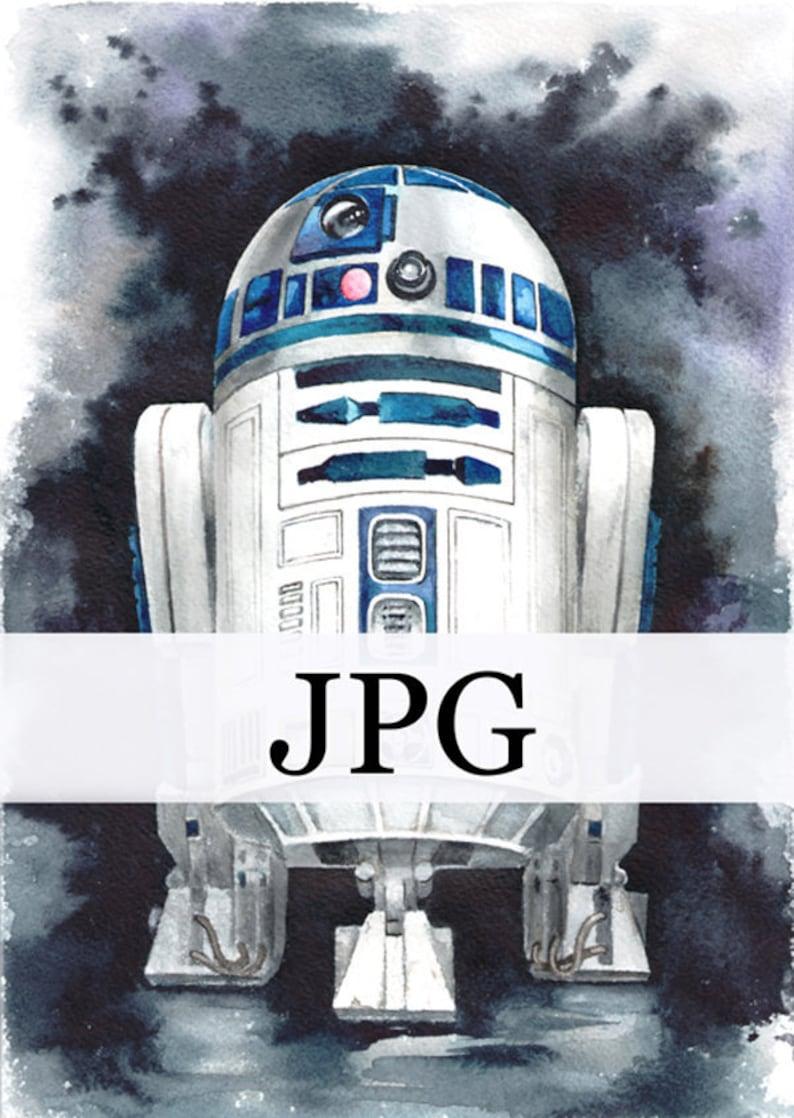 photo relating to R2d2 Printable named r2d2 print, r2d2 printable, watercolour R2D2, droid r2d2, electronic r2d2, star wars artwork print