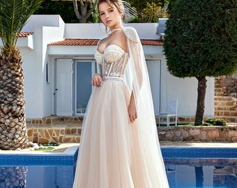 9d55188ca2ff Beautiful Modern Pearl Beaded Illusion Lace & Champagne Tulle Wedding Dress  w Beaded Cape, Sweetheart Neckline, Pearl Beading, Tulle Skirt.