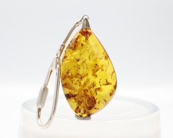 Natural Genuine Baltic Amber Key Chain with Fly Fossil Inside Amber Keychain 925 Sterling Silver Chain