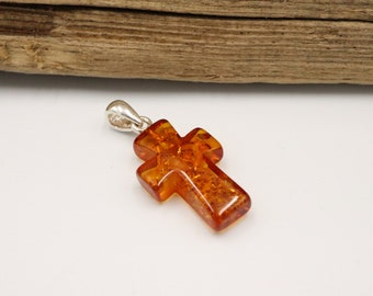 925 Sterling Silver Baltic Amber Pendant Necklace Amber Jewelry Amber Cross Pendant White color