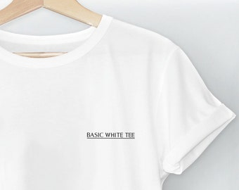 11fb269f01ec Basic white tee,Cute T-shirt,Tops & Tees,Minimalistic print,Unisex Adults  Tshirt,High Quality shirt,Gift for her,Cotton t shirt,pocket print
