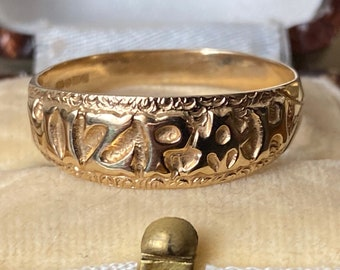 """Fabulous antique vintage Victorian style solid 375 9ct Gold """"MIZPAH """"sweetheart Ring"""